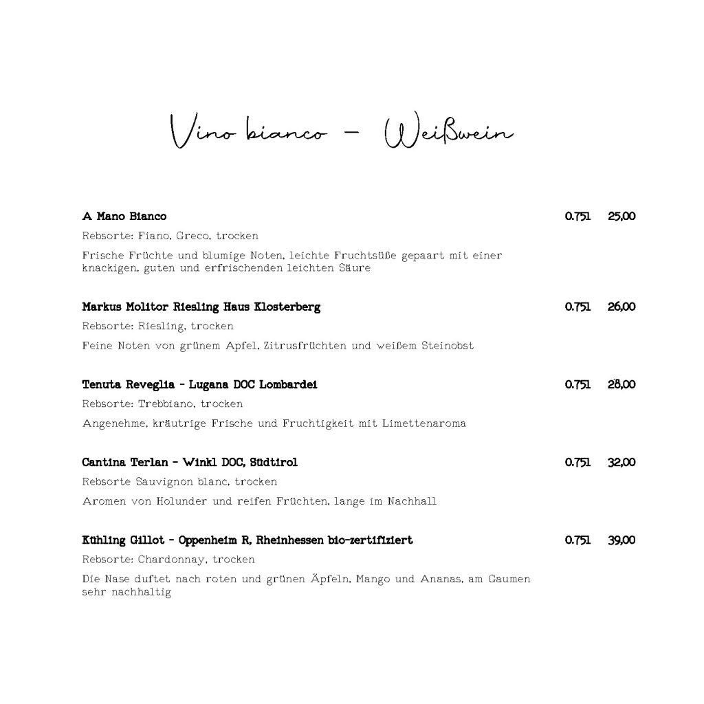 Vino bianco - Weißwein